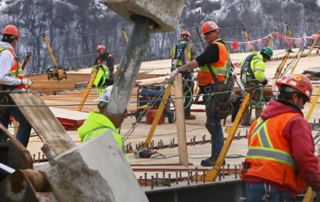 Construction was the fastest growing employment sector in Minnesota in February, according to state data. This photo shows a construction crew working Thursday on the High Bridge in St. Paul. (Staff photo: Bill Klotz)