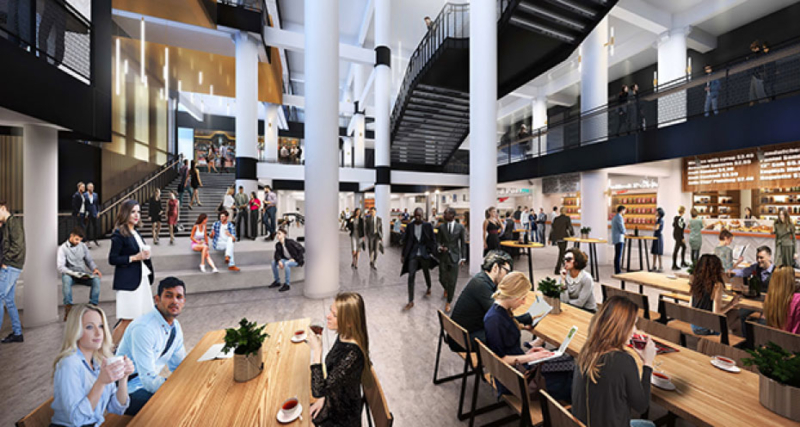 A 40,000-square-foot food hall owned by celebrity chef Andrew Zimmern is the first confirmed lease in the Dayton's Project at 700 Nicollet Mall in downtown Minneapolis. This rendering is one of several the project's designer and general contractor, Gardner Builders, released this week. (Submitted rendering: Gardner Builders)