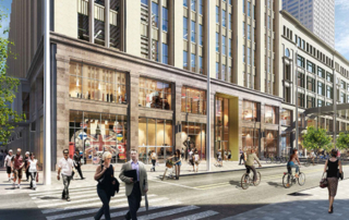 The Nicollet Mall side of the Dayton's Project at 700 Nicollet Mall will host multiple retailers, a lobby for the retail and office portions of the building and a restaurant that is expected to take the former JB Hudson jewelry store space. (Submitted illustration: The Dayton's Project)